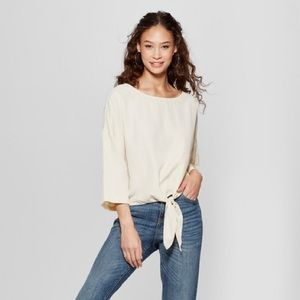 Mossing • Relaxed Tie Front Cream Casual Top